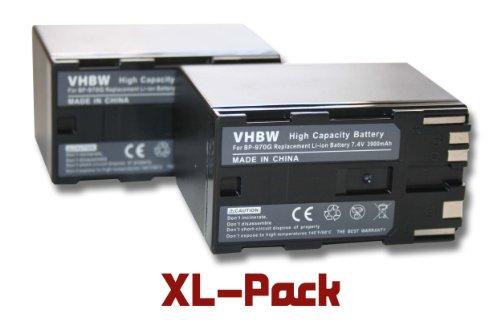 2 x Li-Ion baterías 3900mAh (7.4 V) Apta para cámara Canon EOS C300, XF105, XL2, XM2, XH G1. Sustituye batería Tipo: BP-970G, BP-925, BP-955, BP-975.
