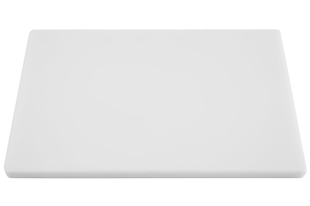 Thick White Poly Plastic Food Service Cutting Board - 18 x 12 x 3/4 Inch Plastic