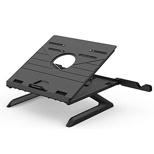 Laptop Stand Riser,9-Adjustable Height Laptop Stand Holder with Built-in Legs and Cell Phone Holder Compatible with M'acBook i'Pad Pro S'urface Pro (Tripod black)