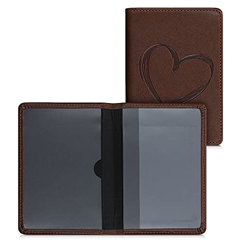 kwmobile Funda para permiso de circulación de coche - Estuche de cuero sintético tipo libro 9.2 x 13 CM con tarjetero dibujo de corazón