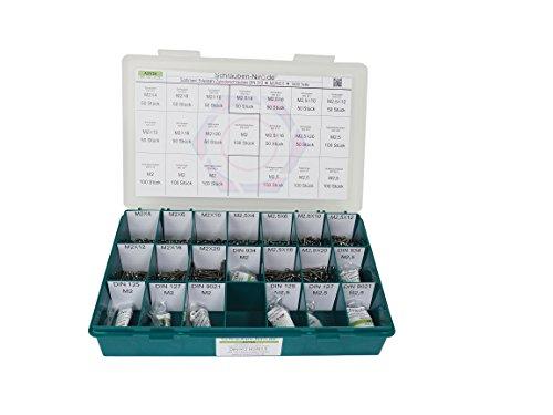 Sortiment M2 + M2,5 DIN 912 Edelstahl A2 (V2A) Zylinderschrauben (Innensechskant) - Set bestehend aus Schrauben, Unterlegscheiben (DIN 125, 127, 9021) und Muttern (DIN 934, 562) - 1400 Teile