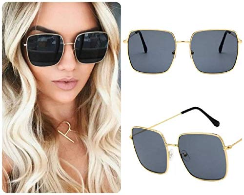 Gafas de sol cuadradas grandes negras para mujer estilo retro hippy vintage 2020 Ibiza Festival