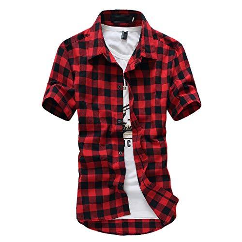 Photno Men Plaid Shirt Short Sleeve Top Casual Slim Fit Button Down Dress Shirts Plus Size Red