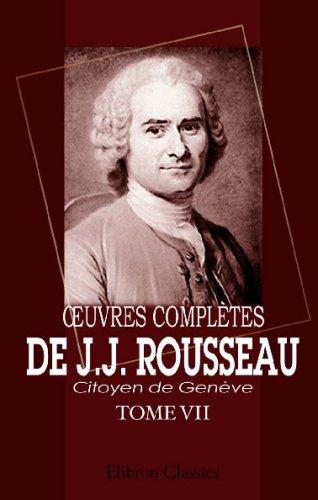 Œuvres complètes de J.J. Rousseau, citoyen de Genève: Tome VII. Émile. Tome 1