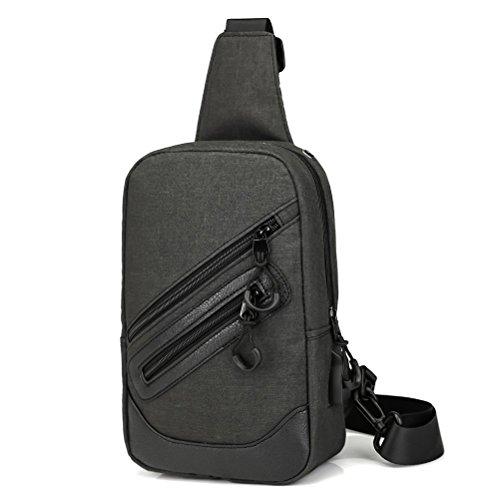 ZMLSXU Männer und Frauen Umhängetasche mit USB-Lade-Schnittstelle Leichte Wandern Brusttasche Rucksack (Farbe : Schwarz)