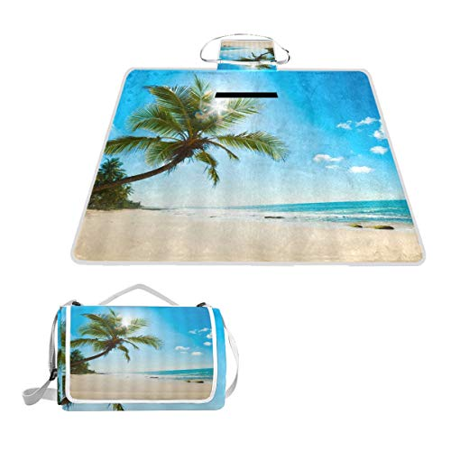 XINGAKA Couverture de Pique-Nique,Tropical Beach Summer Palm Tree Coast Sands Ocean Waves Under Sunny Sky Seaside Nature Scenery,Tapis Idéale pour Plage Jardin Parc Camping