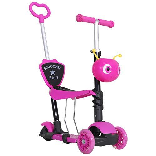 homcom Monopattino 3 Ruote per Bambini con Sedile e Maniglione, Manubrio con Altezza Regolabile, 62x25x72.5cm Rosa