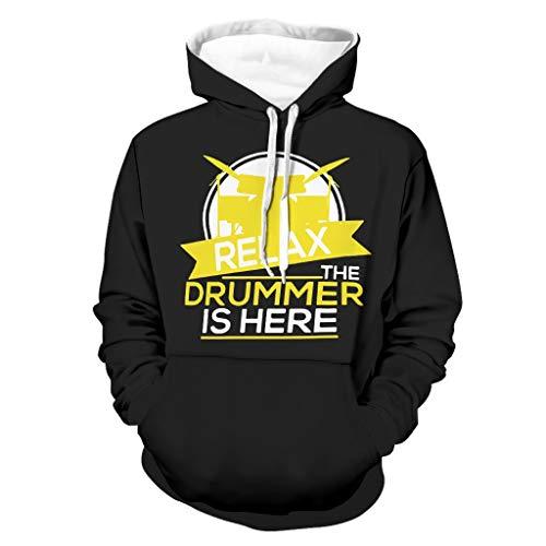 DAMKELLY Store Sudadera con capucha para hombre The Drummer is Here, instrumento musical, color blanco, talla 2XL