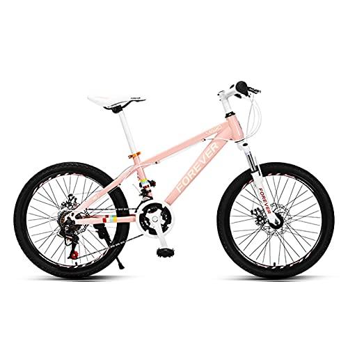 MIAOYO 20' Ligero Bicicleta Montaña,24 Velocidades Bicicleta Trail Bikes para Boy Chica,Velocidad Variable Marco De Acero Al Carbono Suspensión Dual Frenos Disco Adolescentes MTB,Rosado,20'