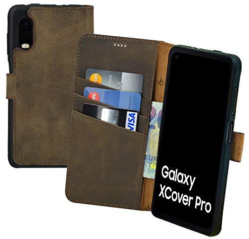 Suncase Book-Style Hülle kompatibel mit Samsung Galaxy Xcover Pro Leder Tasche (Slim-Fit) Lederhülle Handytasche Schutzhülle Hülle mit 3 Kartenfächer in antik-braun
