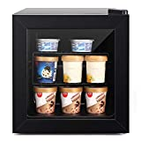 Northair Compact Mini Freezer with Glass Display Door - 1.1 Cu Ft with 2 Removable Shelves - Quiet Upright Freezer - 7 Temperature Settings - Black