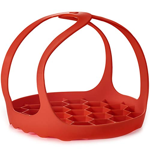 Goldlion Silicone Sling Lifter Accessories Compatible with Instant Pot 6 Qt and 8 Qt, Ninja Foodi 5 Qt / 6.5 Qt / 8 Qt and Other Brand Pressure Cookers, Red