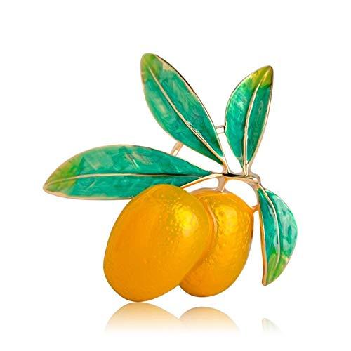 YSCSTORE HumoliStore 4.5 * 4.2 Cm Broche de Esmalte de Forma de Oliva Naranja Vivo, Conjunto de Bufanda de aleación Amarilla para Mujer, Accesorios de Blazer, Decoraciones navideñas
