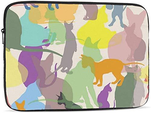 BONRI Cute Cartoon Mexican Taco Laptop Sleeve Bag Compatible con 10-17 Inch Classic Computer Bag Laptop Case-Colorful Cats, 15inch