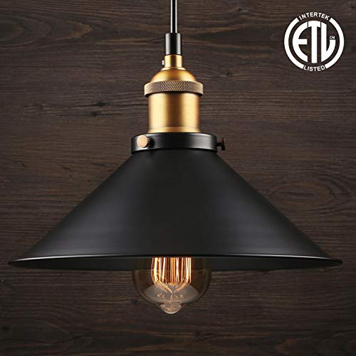 LEONLITE Industrial Hanging 1 Light Pendant, UL-listed, Rustic Farmhouse Style, Matte Black Metal Shade, Retro Vintage Hanging Light, for Dining Room, Bars, Warehouse, E26 Base