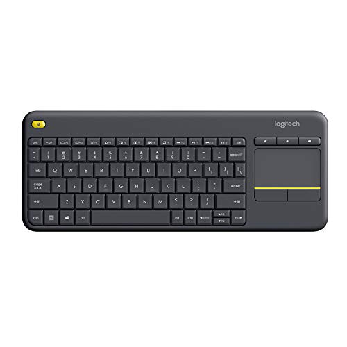 Logitech K400 Plus Teclado Inalámbrico con Touchpad para Televisores Conectados a PC, Teclas Especiales Multi-Media, Windows, Android, Ordenador/Tablet, Disposición QWERTY Inglés, color Negro