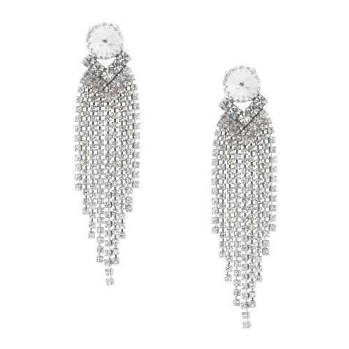 Swarovski Crystal Ohrringe in Silber Für Durchbohrten Ohren / Sekt Kreisförmige Crystal Silber Bolzern