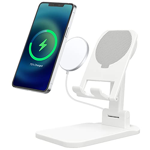CHPRETY Cell Phone Stand Angle Height Adjustable Phone Holder Non-Slip Case Friendly Magsafe Wireless Charger Stand Compatible with All Mobile Phones Tablet(4-10in)