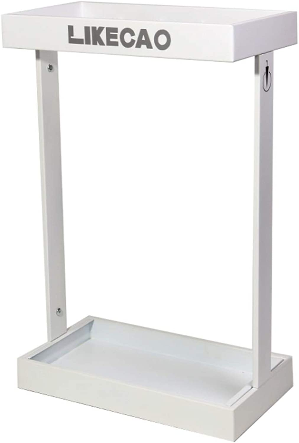 Zr Large-Capacity Fashion Wrought Iron Umbrella Stand Home Office Supermarket Floor-Standing Simple Storage Bucket (color   White)