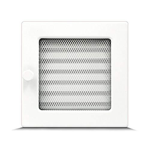 Lüftungsgitter Luftgitter Warmluftgitter Kamingitter regulierbar weiß Kamin verschiedene Größen 17x11cm 17x17cm 17x30cm 17x50cm mit oder ohne Lamellen (17 x 17 cm mit Lamellen)