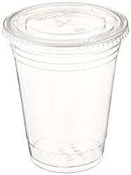 A World Of Deals Plastic CLEAR Cups with Flat Lids for Iced Coffee Bubble Boba Tea Smoothie,100 Sets 16 oz