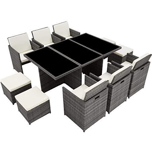 TecTake 403086 Aluminium Poly Rattan Sitzgruppe 6+1+4, klappbar, für bis zu 10 Personen, inkl. Schutzhülle und Edelstahlschrauben, grau - 7