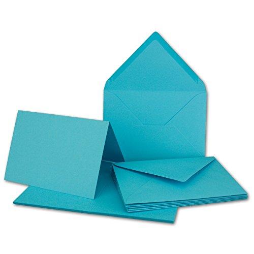 20x Faltkarten Set mit Brief-Umschlägen Türkis - DIN A6 / C6-14,8 x 10,5 cm - Premium Qualität - FarbenFroh® von Gustav NEUSER®