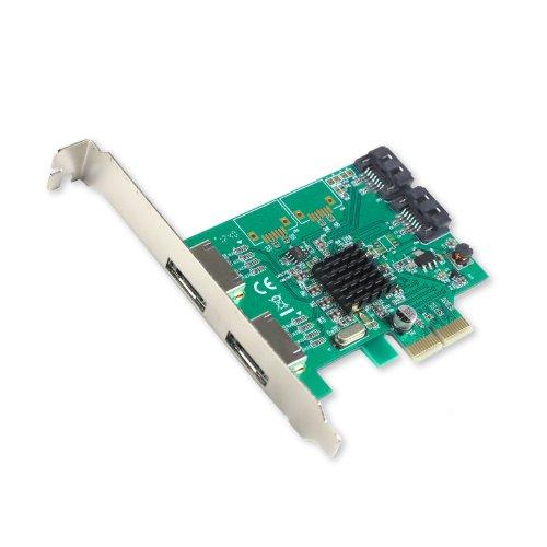 I/O Crest 2 Port SATA III and 2 Port eSATA III PCI-e 2.0 x2 Non RAID Hard Drive Controller Card Marvell 9235 Chipset