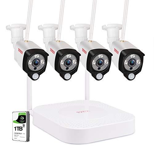 (Audio+PIR) Tonton 4CH 1080P außen WLAN Überwachungskamera Set Kabellos Überwachungsset mit Audioaufnahme4 X 2.0MP WLAN Outdoor Außen IP Haussicherheitsüberwachung mit 1TB Seagate Festplatte DE App