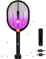 Elektrische Fly Swatter Bug Zapper Racket Mosquito Killer 3-in-1 Fly Zapper met LED-licht om te Zap in de Donkere Elektrische Mosquito Swatter Aanrecht Muur Opknoping Zapper voor Thuis Achtertuin Camping BBQ