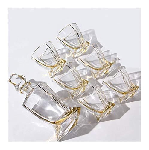GAOTTINGSD Botellero Whiskey Jarra y Vasos, Decorado con 800 ml 100% de Plomo de Cristal Libre de Whisky Jarra con 6 vidrios de consumición del Whisky de 7 Piezas for los espíritus Bourbon O Scotch