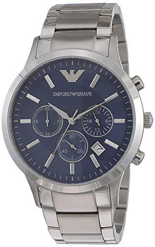 Emporio Armani - AR2448 - Herenhorloge - Kwarts - Chronograaf - Blauwe Wijzerplaat - Zilver Staal Armband