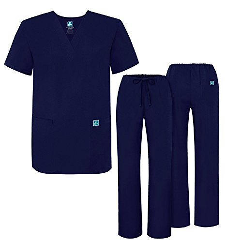 ADAR UNIFORMS Adar Mens Medical Scrubs Set Medical Uniforms - Roomy Fit - 701 - NVY -L