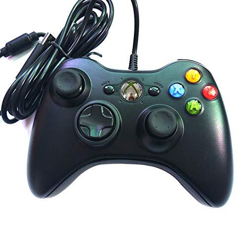 DJG Kabelgebundenes Gamepad Gamepad, USB-Kabelgebundener PC-Gamecontroller-Joystick mit für PC/Laptop-Computer (Windows XP / 7/8) und PS3-Android-Smart-TV,Schwarz