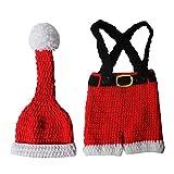 VALICLUD Traje de Fotografía de Bebé Recién Nacido Accesorios de Sesión de Fotos de Navidad Conjunto de Disfraces de Pantalones de Sombrero de Punto para Bebés Recién Nacidos