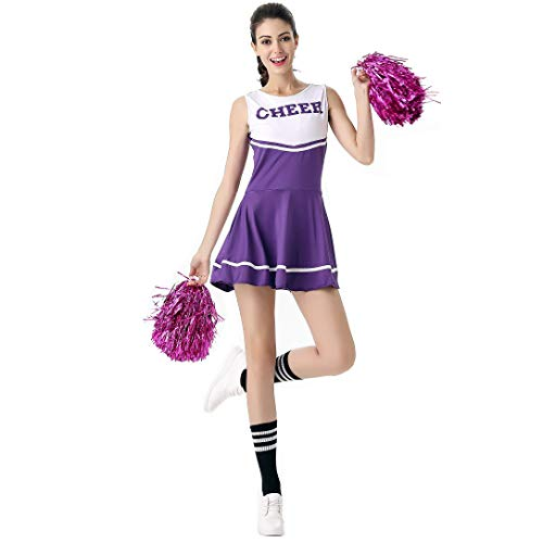 ThreeH Disfraz de Animadora para Mujer Disfraz de Fiesta de Disfraces Disfraz de Vestimenta Musical Talla nica Sin Pompones,Purple