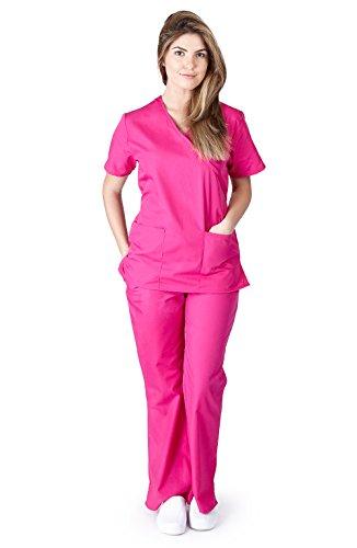 Natural Uniforms Women's Mock Wrap Scrub Set (Hot Pink) (Medium)