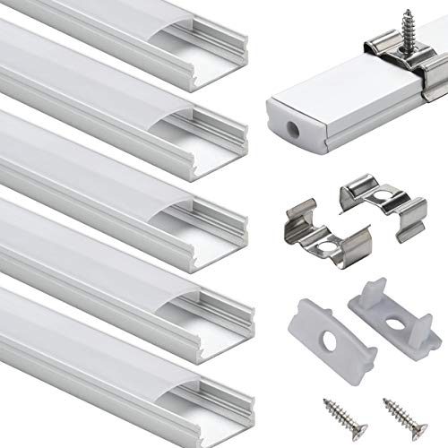 LED Aluminum Channel with Cover - StarlandLed 6-Pack 1Meter/3.3ft LED Extrusions Track Diffusers Housing with End Caps and Mounting Clips for LED Flexible Strip