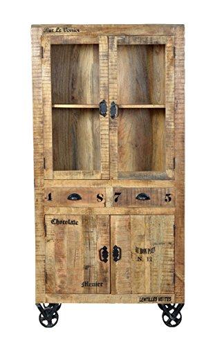 SIT-Möbel Rustic 1904-04 Vitrine mit 4 Türen, 2 Schubladen, aus Mangoholz, Antik, braun, Wortprints 90 x 40 x 180 cm