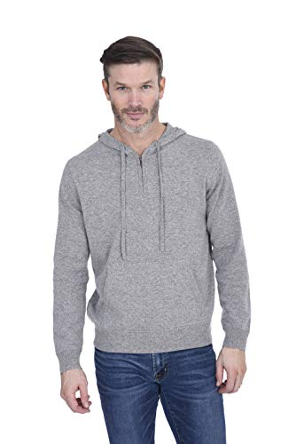 Cashmeren Men's 100% Pure Cashmere Full Zip Pullover Hoodie (Heather Grey, X-Large)