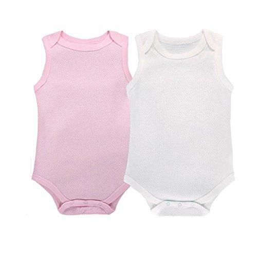 CuteOn 2 Pack Bébé sans Manches Bodysuit Respirant Coton Top Blanc + Rose 9 Mois