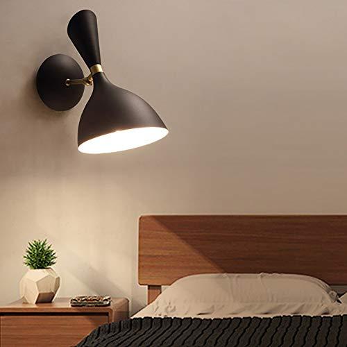 Halfronde Metalen Lampenkap LED Wandlamp, E27 Moderne Minimalistische Verlichting, Slaapkamer Nachtkastje Woonkamer Decoratie Licht,Black