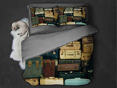 Toopeek Vintage 3-pack (1 duvet cover and 2 pillowcases) Colorful Vintage Suitcase Antique Leather Decorative Travel Gift Map Nostalgia Polyester (Queen) Brown Cream Green