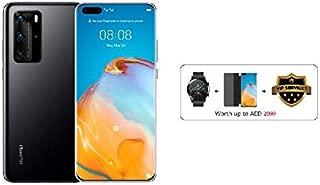 HUAWEI P40 Pro Smartphone 5G, 256 GB, 8 GB RAM, Dual SIM (Black) + Watch GT 2 Latona (Black) + Flip Cover (Black)