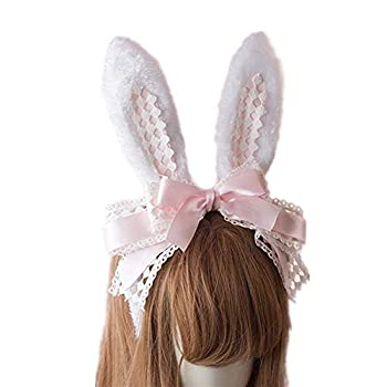 Easter Party Hair Accessory Headband Gothic Lolita Cosplay Cute Rabbit Bunny Ears Bow Lace Hair Band Headwear  Pink