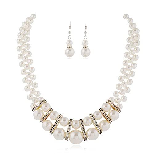 N\C Conjunto De Aretes De Collar De Perlas De Imitación, Accesorios De Cadena De Clavícula De Decoración Versátil Y Elegante Perla Blanca