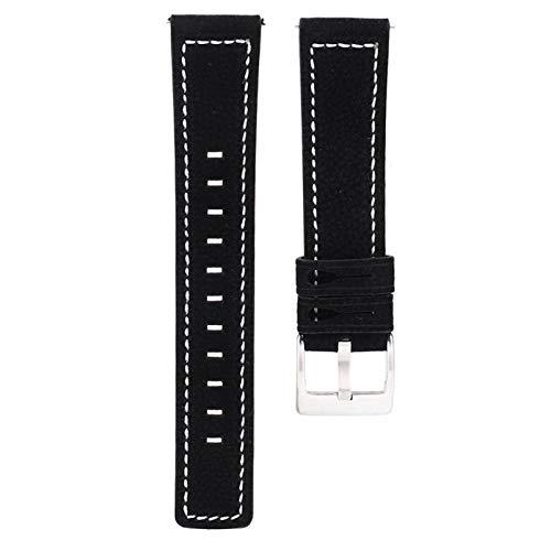 Correa de reloj Correa de reloj de piel de vaca cuidadosamente pulida para Samsung Gear S2 / Sport S4 con ajuste de longitud(black)