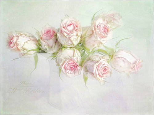 Posterlounge Acrylglasbild 40 x 30 cm: Pretty pink Roses von Lizzy Pe - Wandbild, Acryl Glasbild, Druck auf Acryl Glas Bild