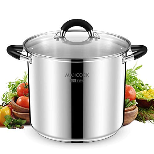 MaxCook Stainless Steel Stock Pot, Large Matte Polished Nickel Free Heavy Cooking Pot with Lid, Good for Soup, Lobster, Stews, 9 Quart
