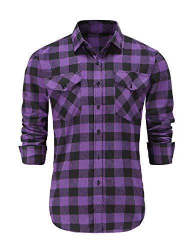 Dioufond Camicia Boscaiolo Uomo Maniche Lunghe Camicie a Quadri Uomo Flanella Viola XL
